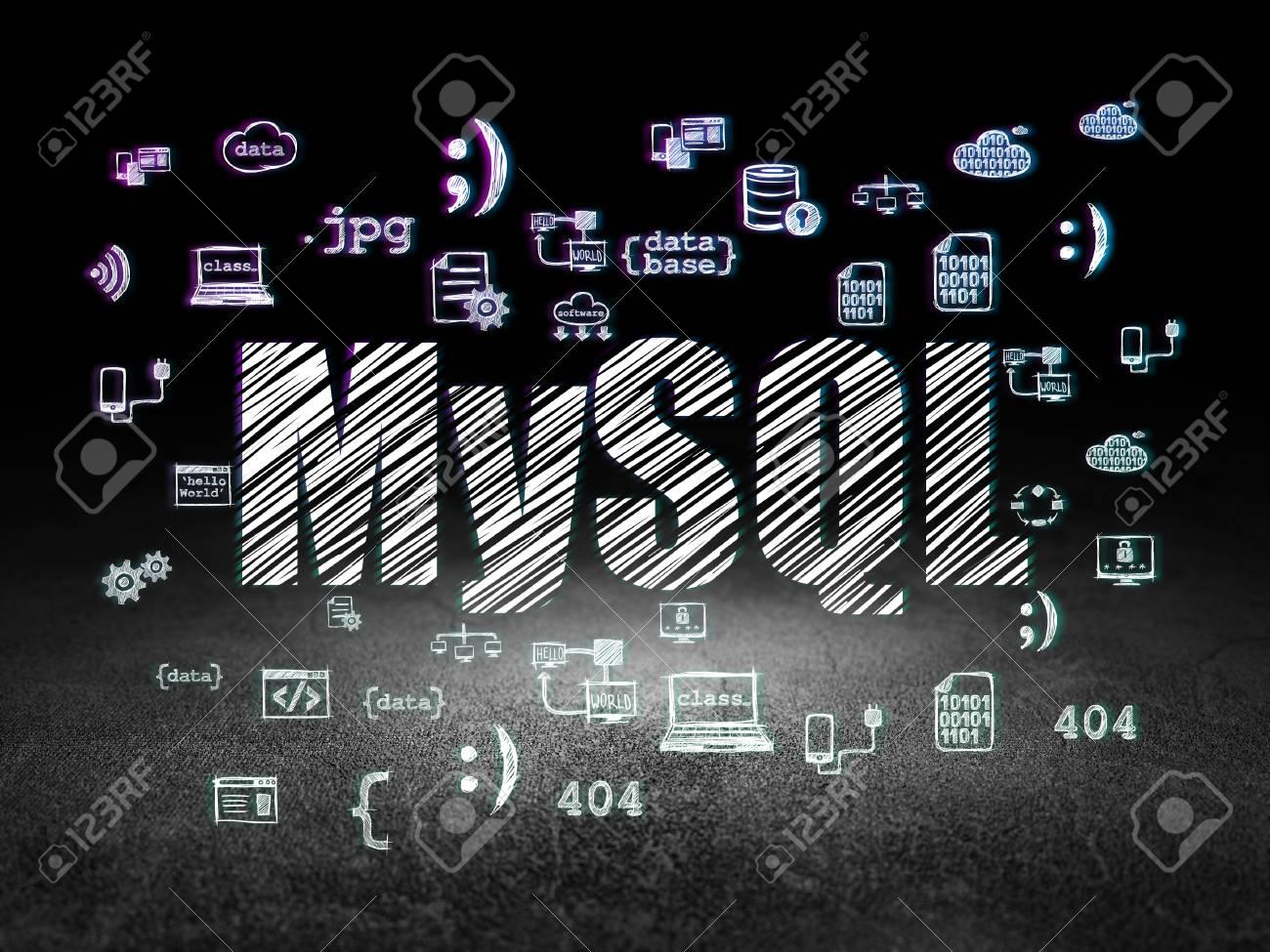 Concepto De Programación: Texto Brillante MySQL, Iconos De ...