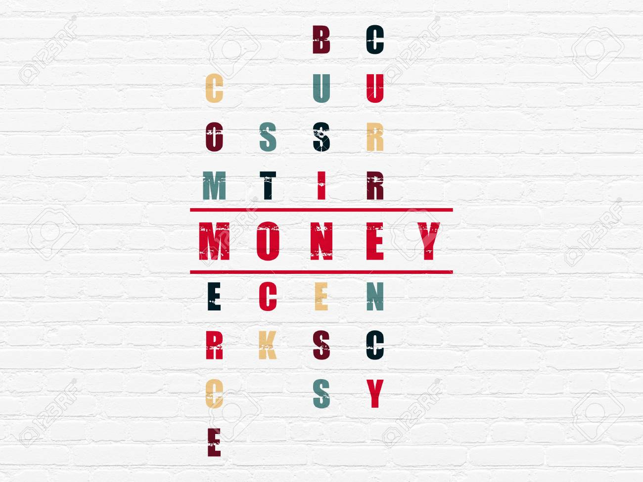Money Concept Painted Red Word Money In Solving Crossword Puzzle