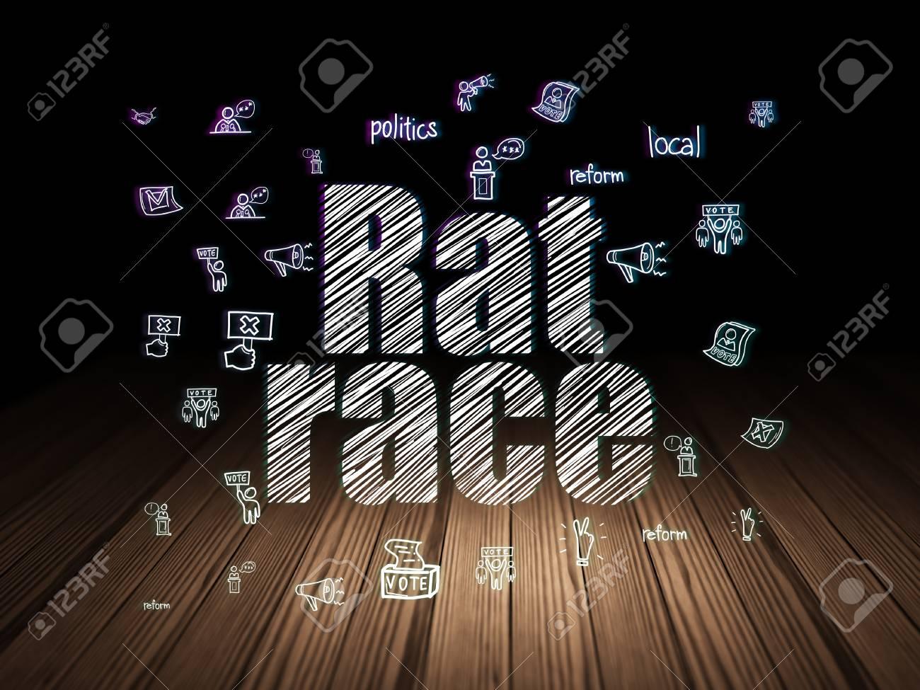 concept de la politique: texte incandescent rat race, hand drawn