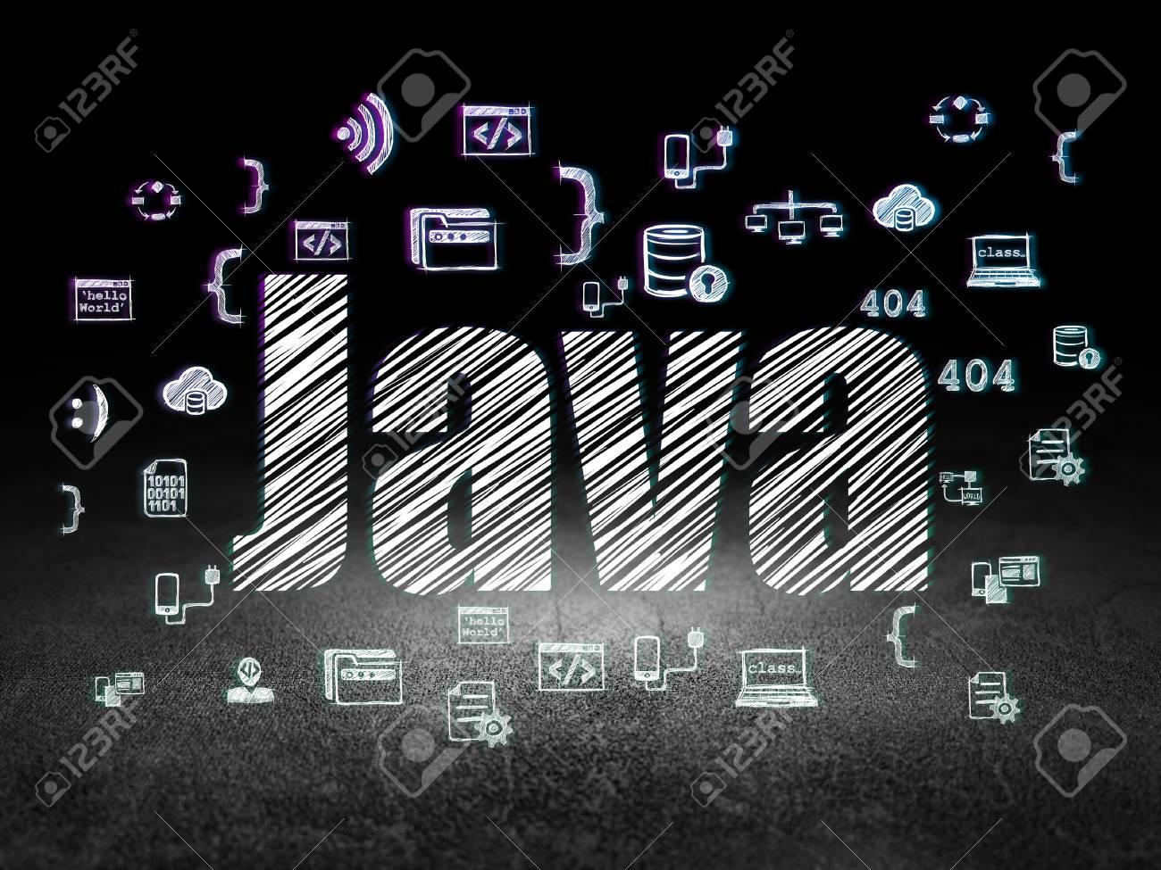 Concepto De Programación: Texto Brillante Java, Iconos De ...