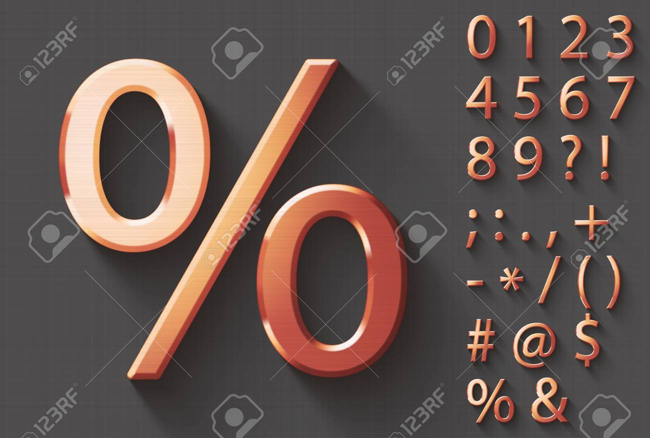 Set of polished copper 3d numbers and symbols copper metallic set of polished copper 3d numbers and symbols copper metallic shiny symbol on gray background buycottarizona Image collections