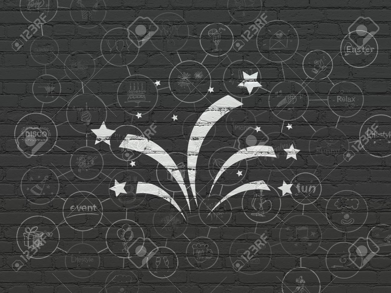 Holiday concept painted white fireworks icon on black brick