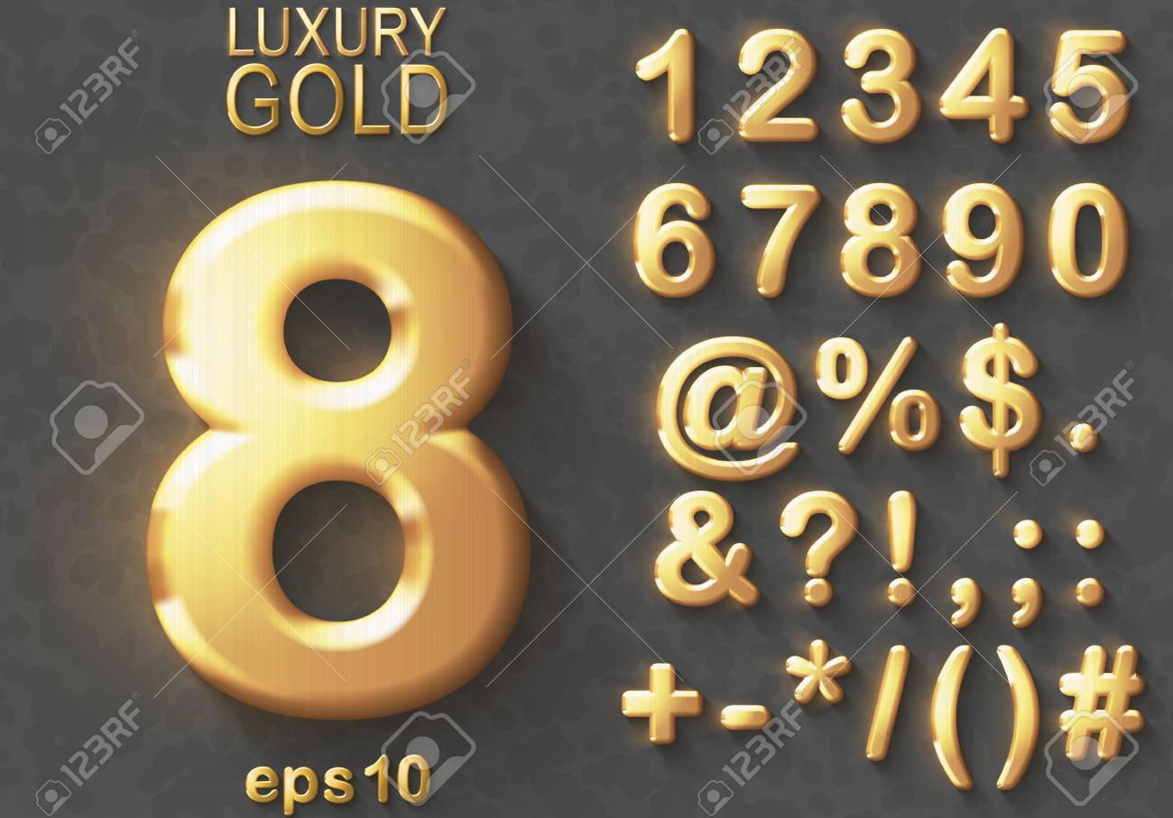 Set of shiny golden luxury 3D Numbers and Characters. Golden metallic glitter bold symbols on gray background. Good set for treasure and luxury concepts. Transparent shadow, EPS 10 vector illustration - 92038505