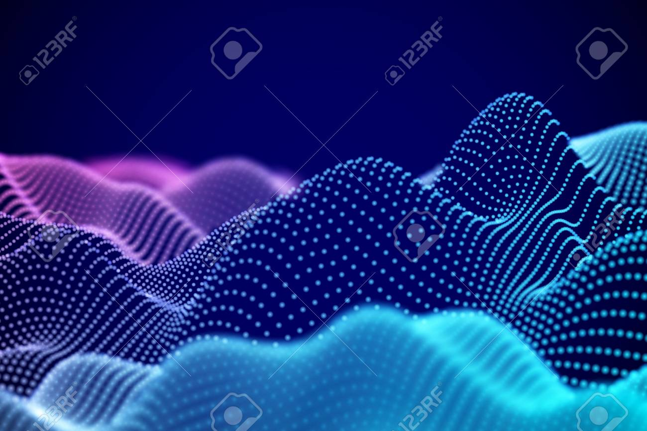 Visualization of sound waves. Abstract digital landscape or soundwaves with flowing particles. Big data technology background. Virtual reality concept: 3D digital surface. EPS 10 vector illustration. - 112288563