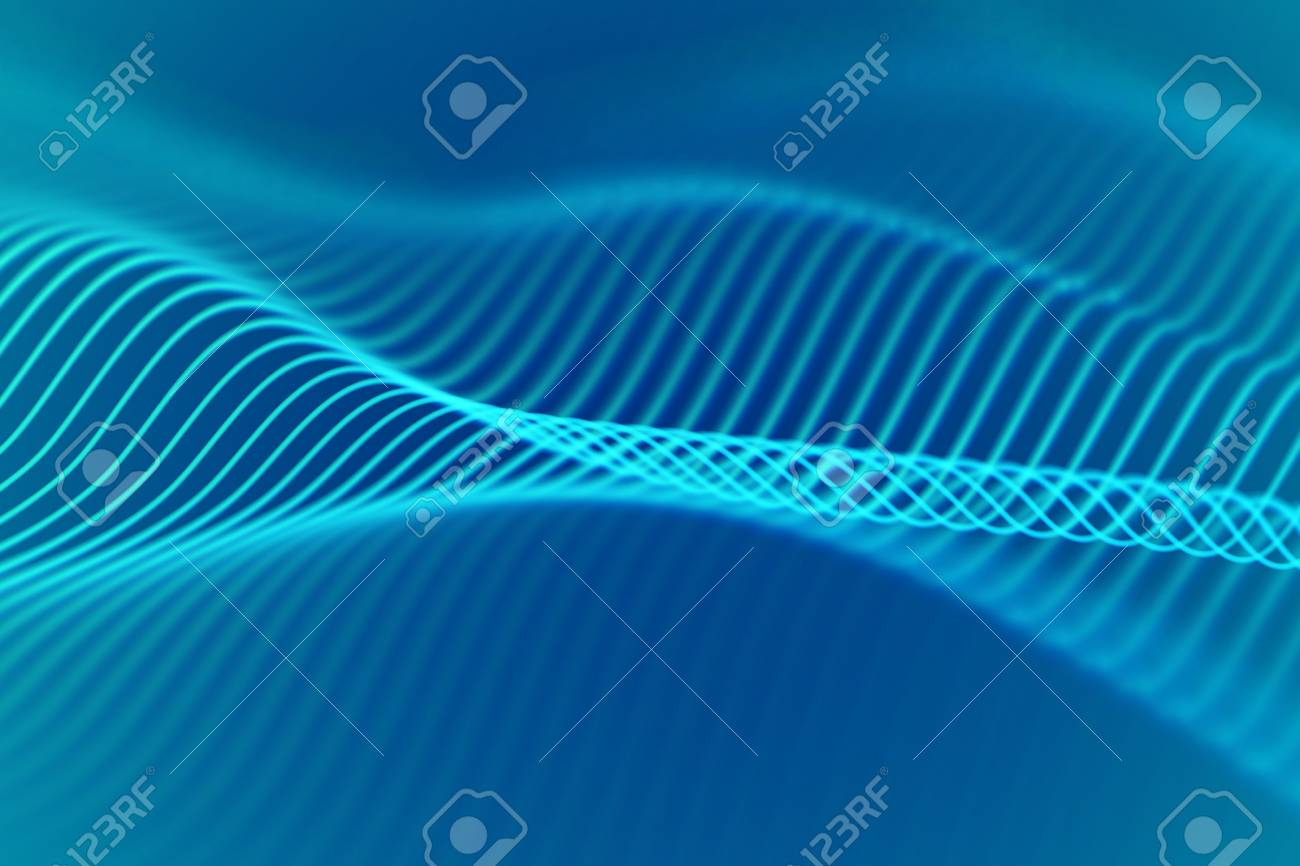 3D Sound waves, visual audio equalizer  Big data abstract visualization