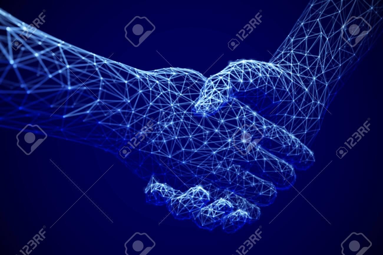 Information technology in business, digital deal or online commerce: digital handshake. Artificial intelligence or global communication. - 131595070