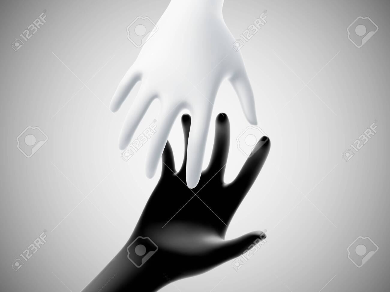 Two 3D hands taking each other on white background. Concept of help, charity, business assistance and partnership. White hand reaches for black hand. Vector illustration of helping gesture. - 144177971