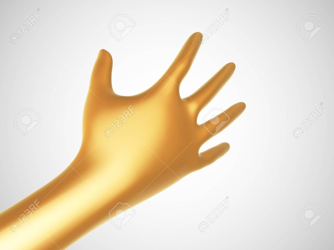 3D golden hand offering for handshake on white background. Concept of financial support, teamwork and business partnership. Vector illustration of shaking human hand made of gold. - 144188814
