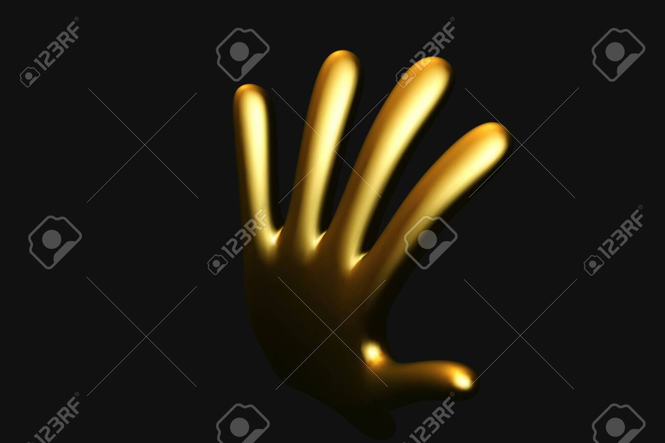 3D golden cartoon hand raised in welcoming gesture on black background. Humorous comic human hand made of gold. Funny vector illustration of human palm. - 145034553