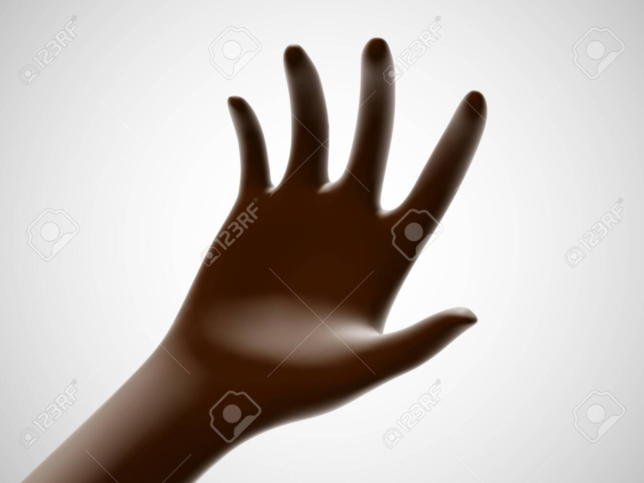 Brown open palm offering something. Concept of charity, care and online support. Vector illustration of inviting gesture. Chocolate hand giving out something on white background. - 145094302