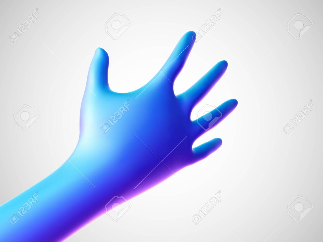3D blue hand offering for handshake on white background. Concept of financial support, teamwork and business partnership. Vector illustration of shaking human hand. - 145938104