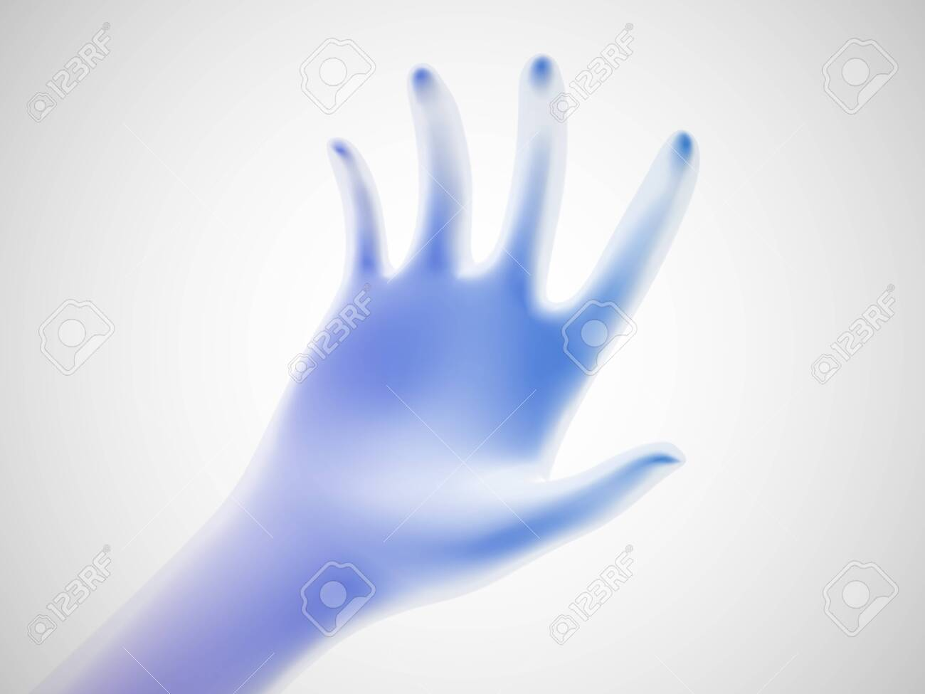 3D blue open palm offering something. Concept of charity, care and online support. Vector illustration of inviting gesture. Blue hand giving out something on white background. - 146807024