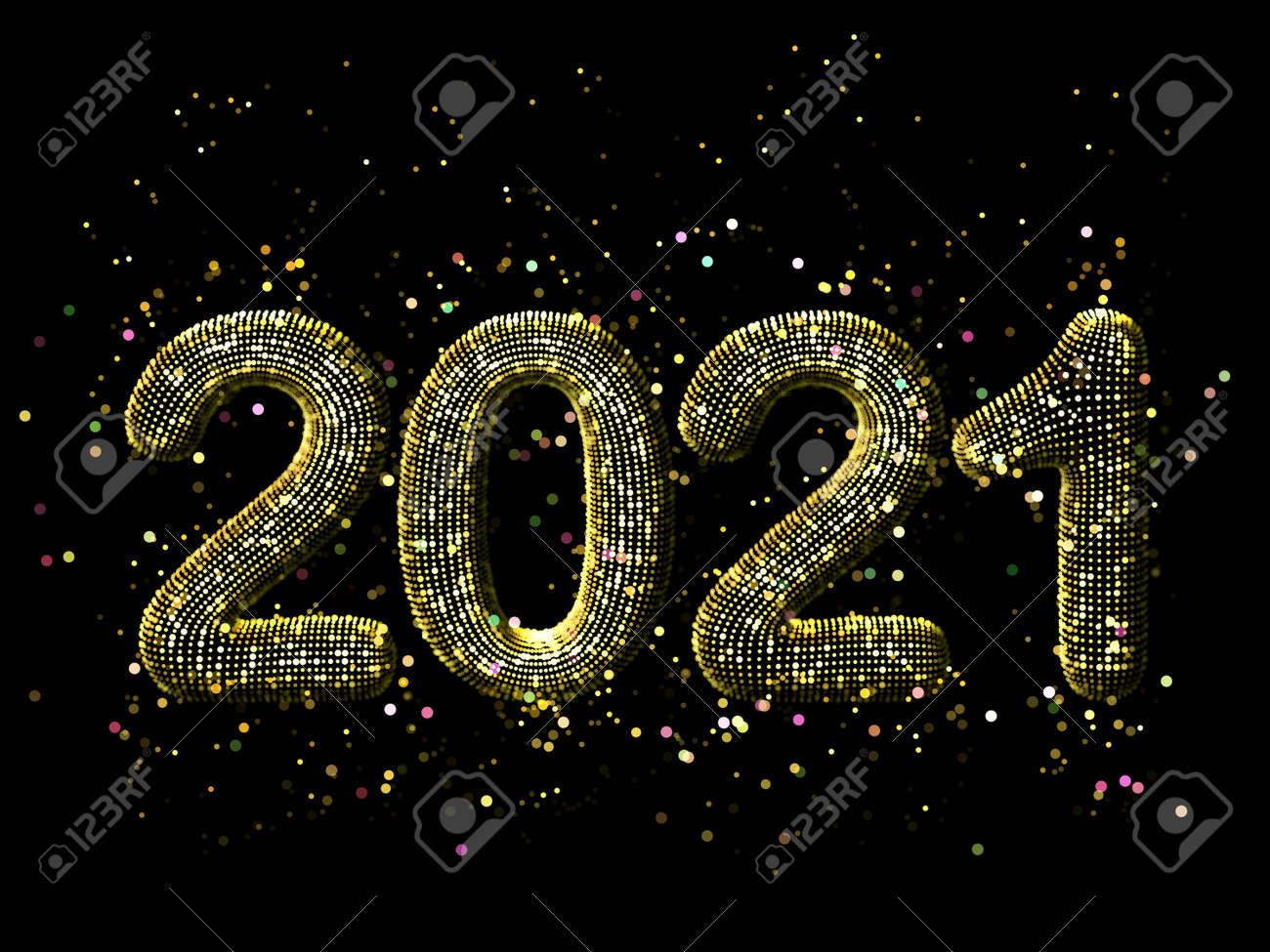 Happy New Year greeting glamorous postcard: 3D golden glittering text 2021 with shiny sparkles on black background. Concept of 2021 New Year celebration. New Year festive vector illustration. - 157402442