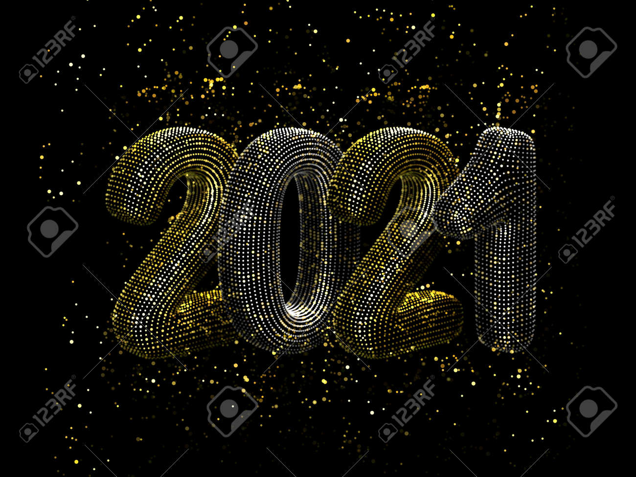 Happy New Year greeting glamorous postcard: 3D gold and silver text 2021 with shiny golden sparkles on black background. Concept of 2021 New Year celebration. New Year festive vector illustration. - 157402443
