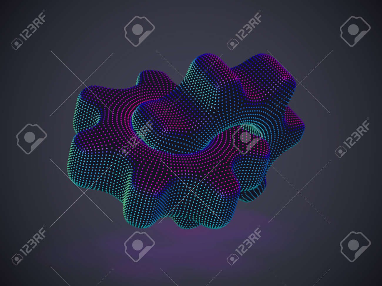 3D gears made of neon dots on gray background. Abstract vector illustration (EPS 10) of digital futuristic cogwheels. Concept of business partnership, online support and information technology. - 160046538