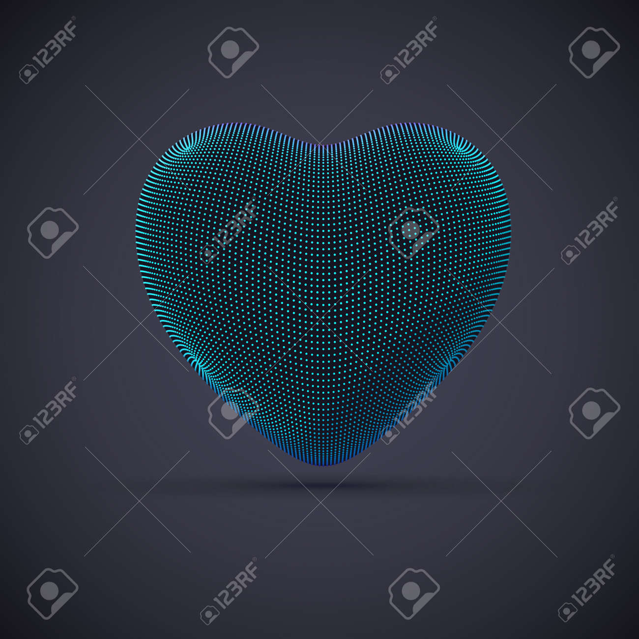 3D digital futuristic blue heart on gray background. Abstract vector illustration of online dating and virtual love. Concept of digital technology in medicine. Greeting postcard for Valentines Day. - 160183570