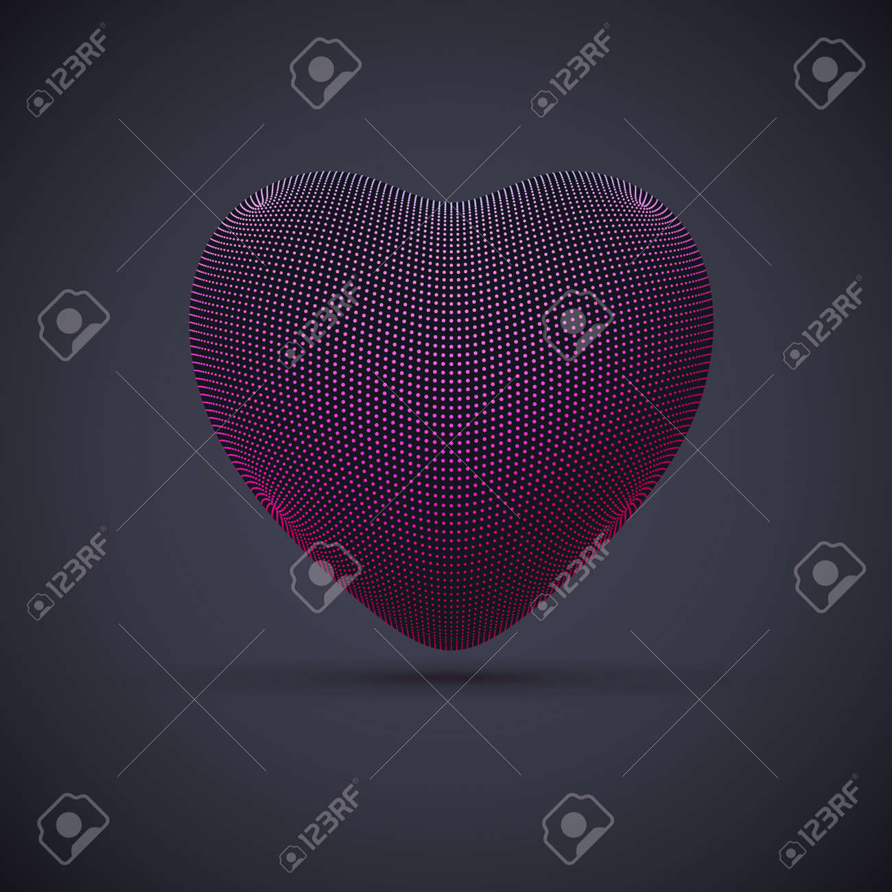 3D digital futuristic pink heart on gray background. Abstract vector illustration of online dating and virtual love. Concept of digital technology in medicine. Greeting postcard for Valentines Day. - 160790099