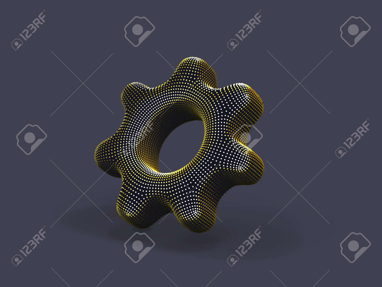 3D gear made of yellow dots on gray background. Abstract vector illustration of digital golden cogwheel. Concept of software setup, program settings and online support. - 161316684