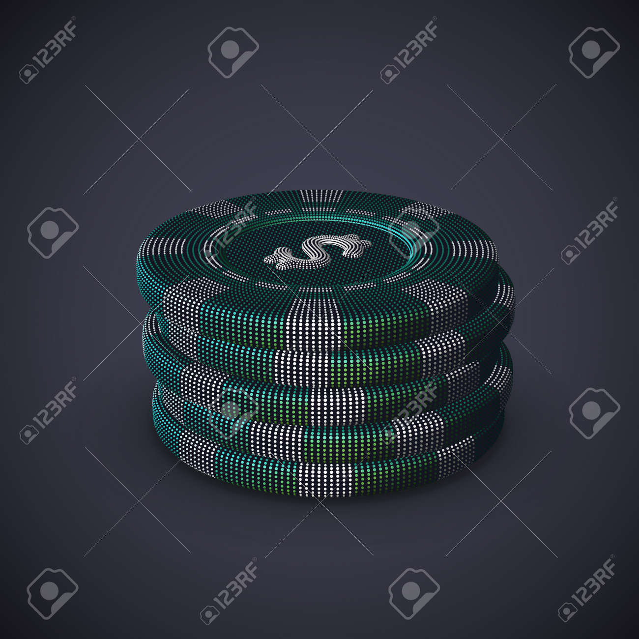 Digital 3D poker chips stack on gray background. Online gambling and virtual casino games. Stock exchange abstract concept: earning profit on currency exchange differences. vector illustration. - 161568187