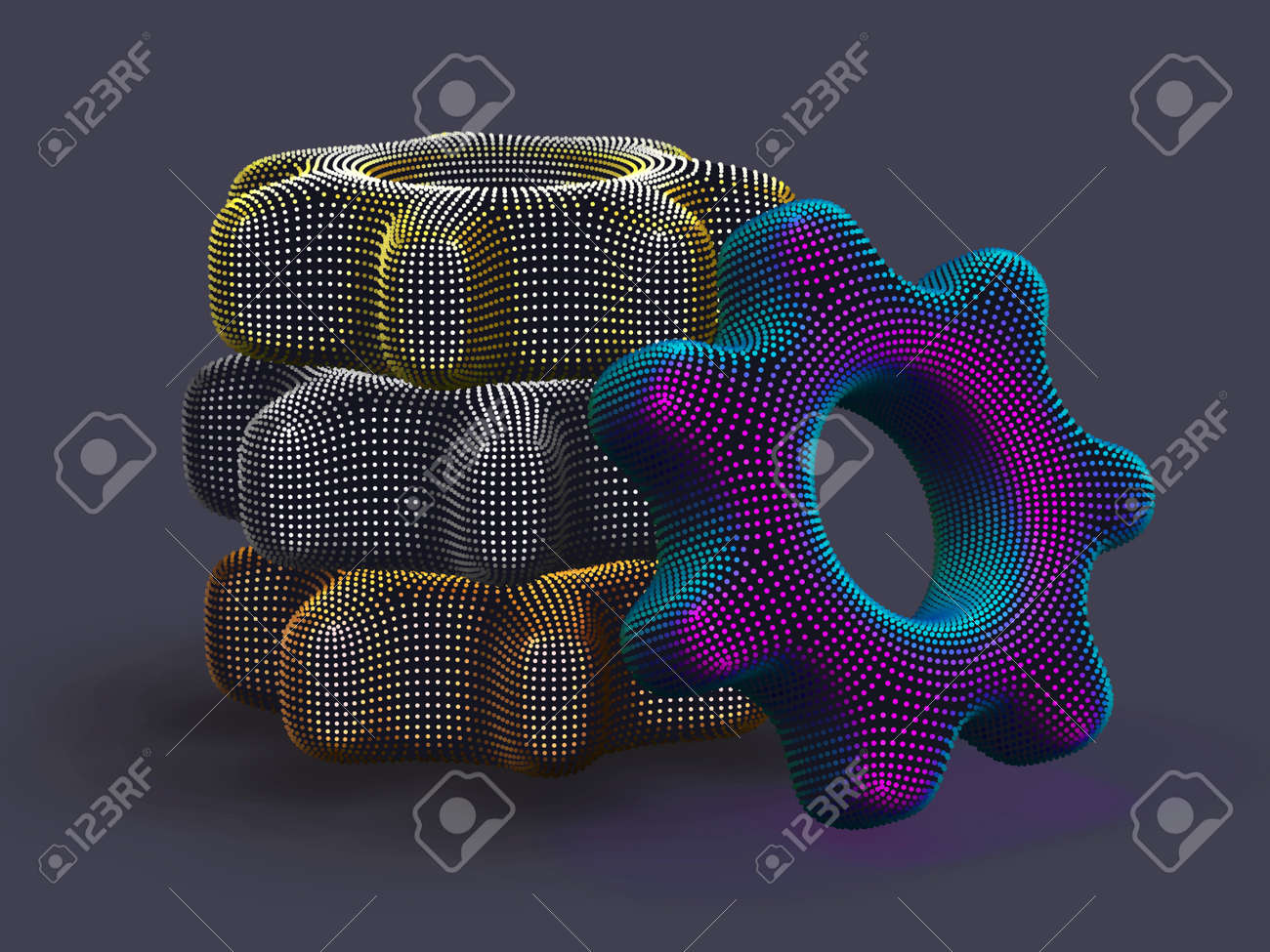 Stack of 3D digital multicolored gears on gray background. Abstract vector illustration of futuristic cogwheels made of dots. Business partnership, teamwork and process workflow optimization concept. - 162069090