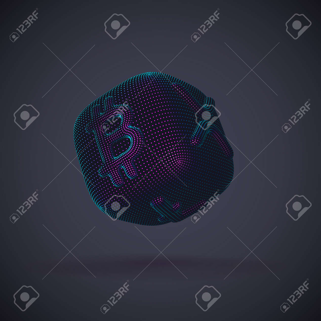 Digital 3D dice with cryptocurrency logos Bitcoin, Litecoin and Ripple on gray background. Concept of luck and fortune in crypto investing and stock exchange trading. Vector illustration - 162069098