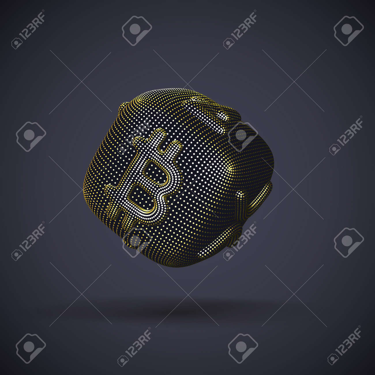 Digital golden 3D dice with cryptocurrency logos Bitcoin, Litecoin and Ripple on gray background. Concept of luck and fortune in crypto investing and stock exchange trading. Vector illustration - 162069127