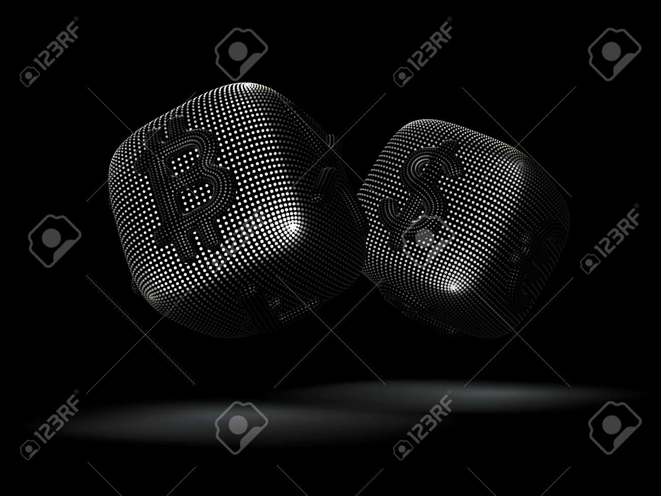 Digital 3D silver dices with cryptocurrency and currency symbols Bitcoin and Dollar. Concept of fortune in crypto investing and stock exchange trading. Black background. Vector illustration. - 163804584