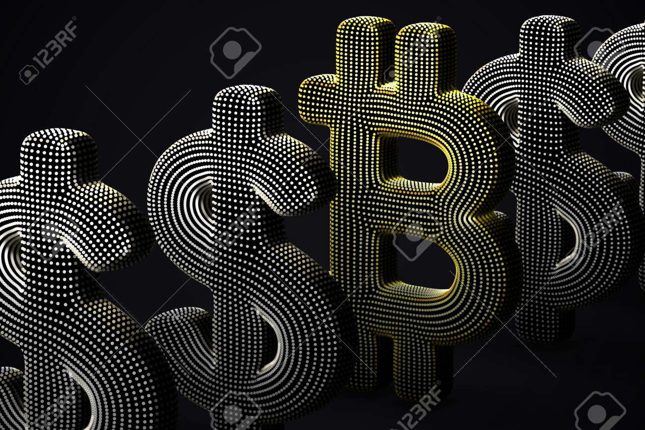 Digital golden 3D Bitcoin currency logo in a row with US Dollar signs on gray background. Concept of successful investing and stock exchange trading. Vector illustration, EPS 10. - 163804644