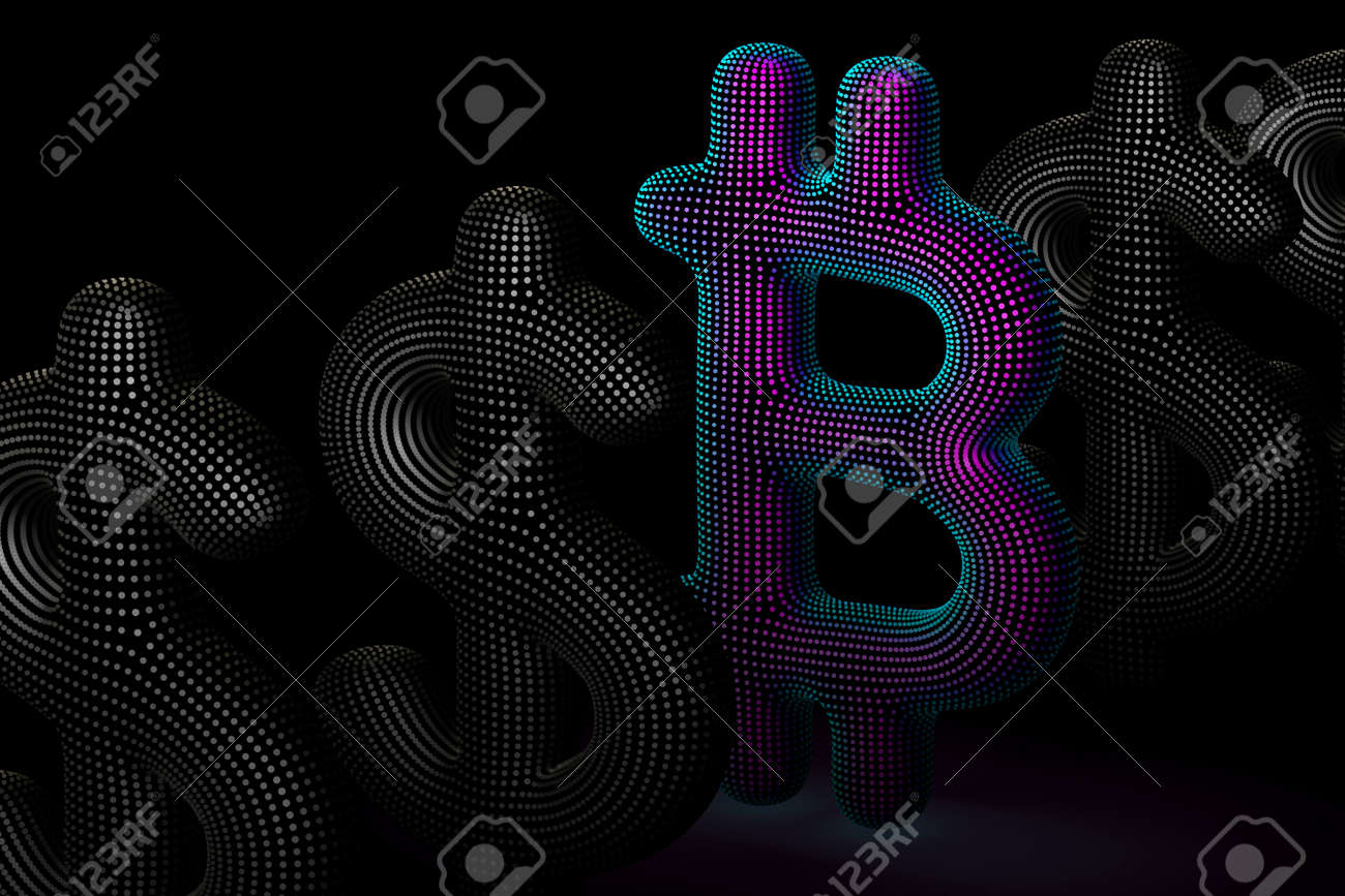 Bitcoin cryptocurrency digital 3D logo in a row with US Dollar signs on gray background. Concept of successful crypto investing and stock exchange trading. Vector illustration, EPS 10. - 164859045