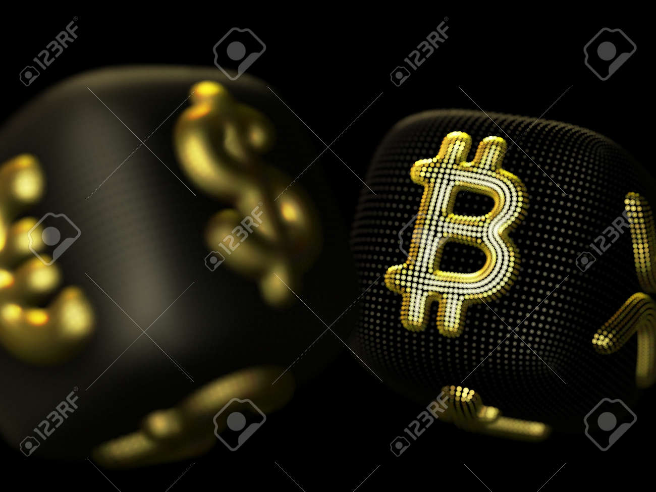 Digital 3D golden dices with cryptocurrency and fiat currency symbols Bitcoin and Dollar. Concept of fortune in crypto investing and stock exchange trading. Black background. Vector illustration - 165121934