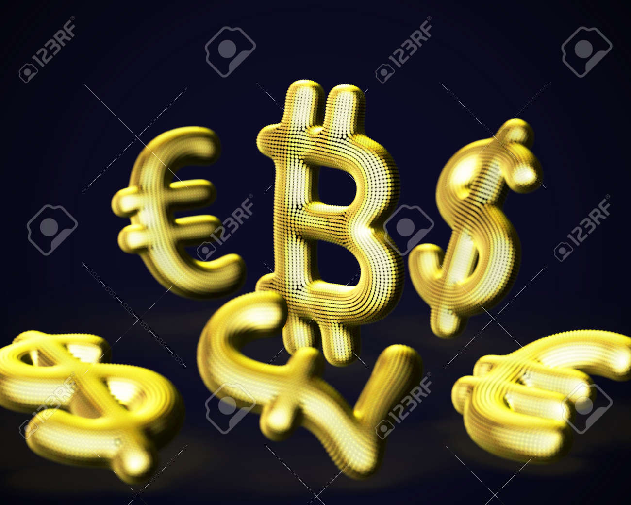 Digital golden 3D Bitcoin cryptocurrency logo surrounded by scattered fiat currencies signs on blue background. Concept of crypto investing and stock exchange trading. Vector illustration - 165820130