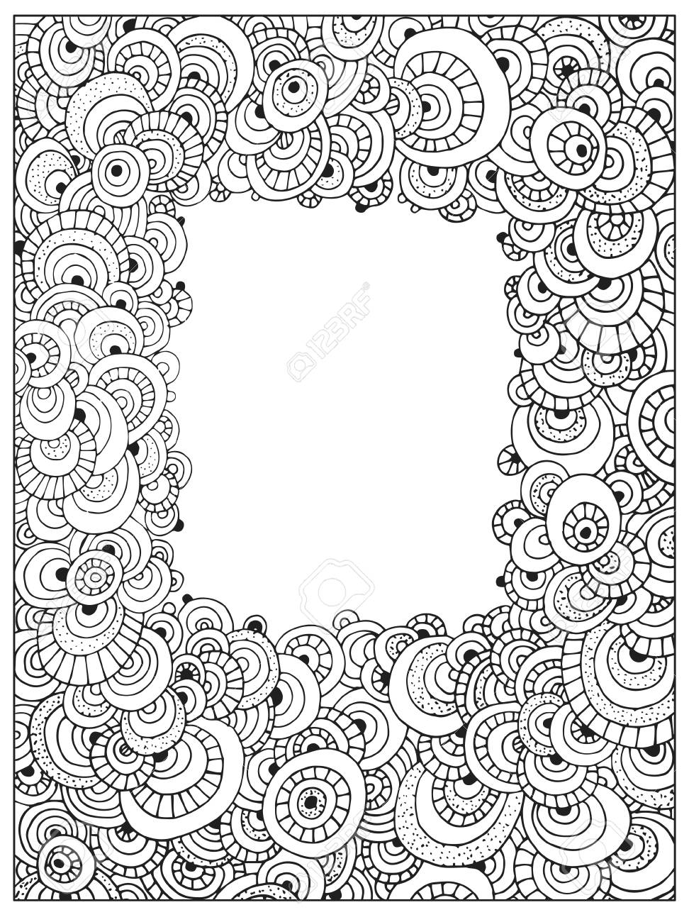 Difficult Circle Uncolored Adult Coloring Book Page. Abstract ...