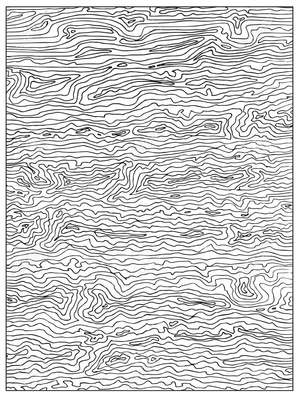 Hand Drawn Uncolored Abstract Adult Coloring Book Page With Wood ...