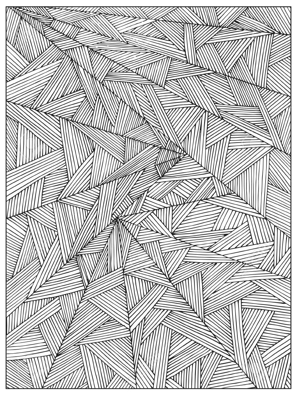 Hand Drawn Uncolored Difficult Abstract Adult Coloring Book Page ...