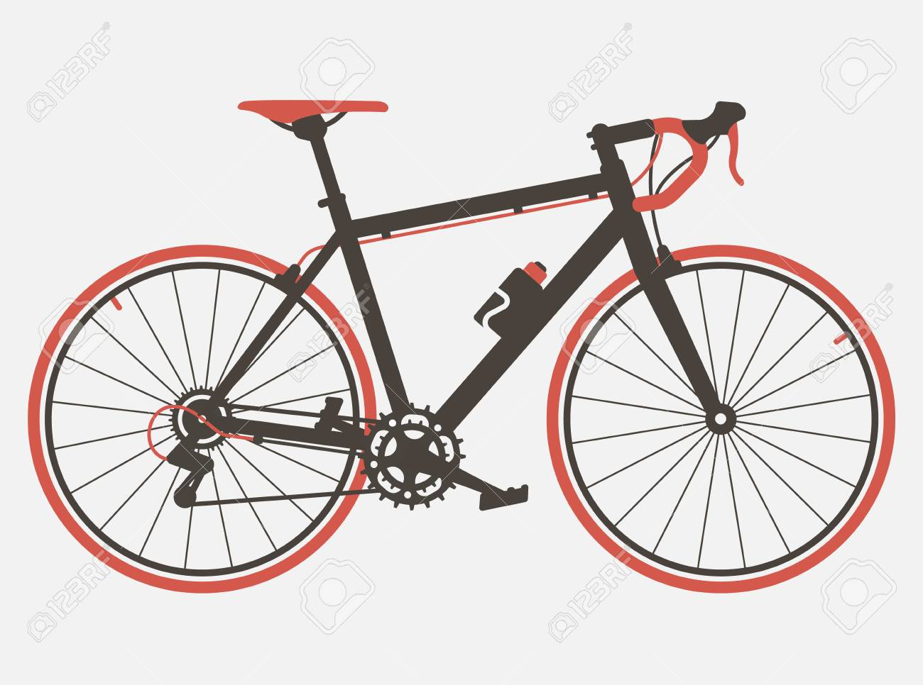 Road Bicycle Flat Design Retro Design Bicycle Vintage Style Royalty Free Cliparts Vectors And Stock Illustration Image 107503095