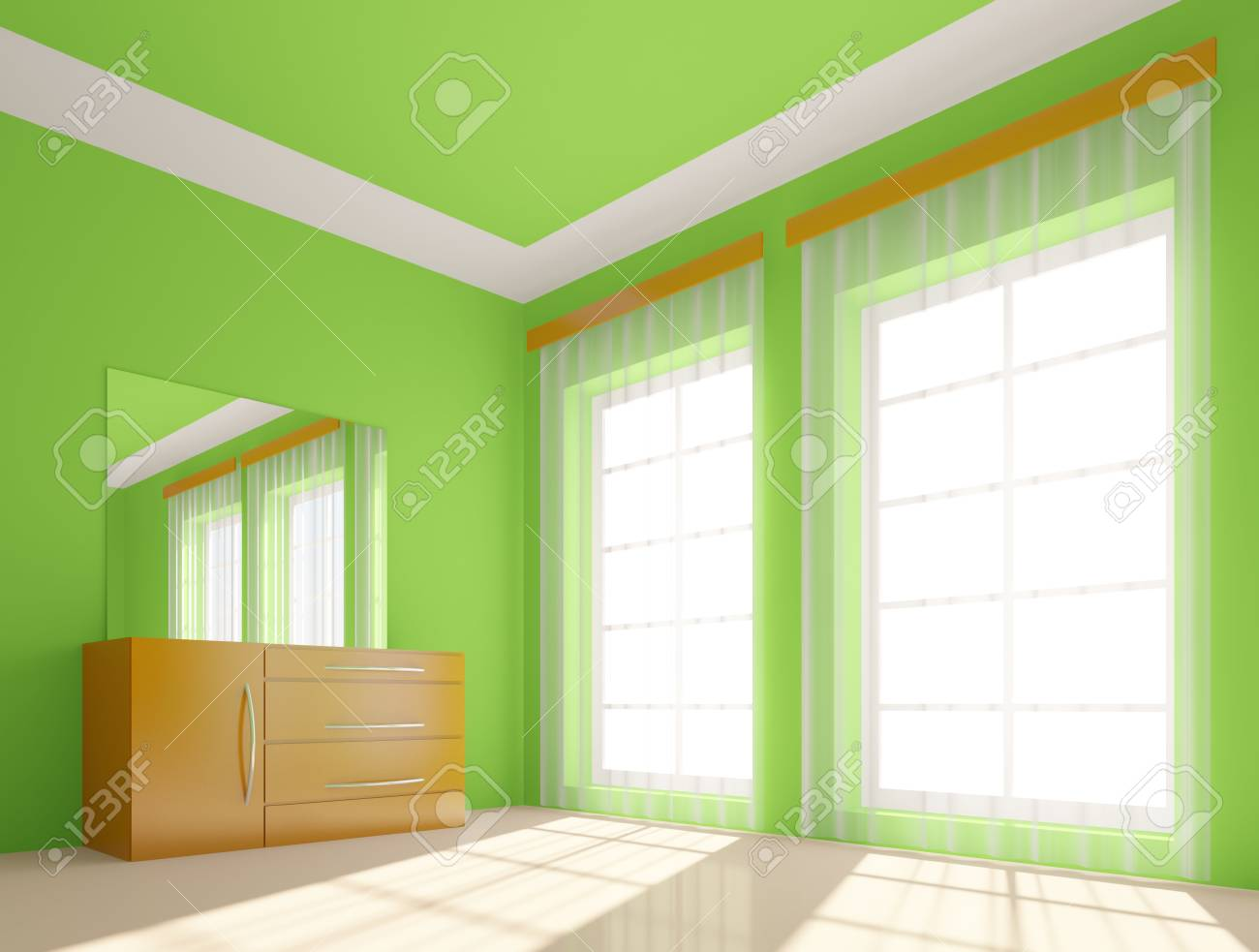 3D illustration of modern green room Stock Illustration - 6994360