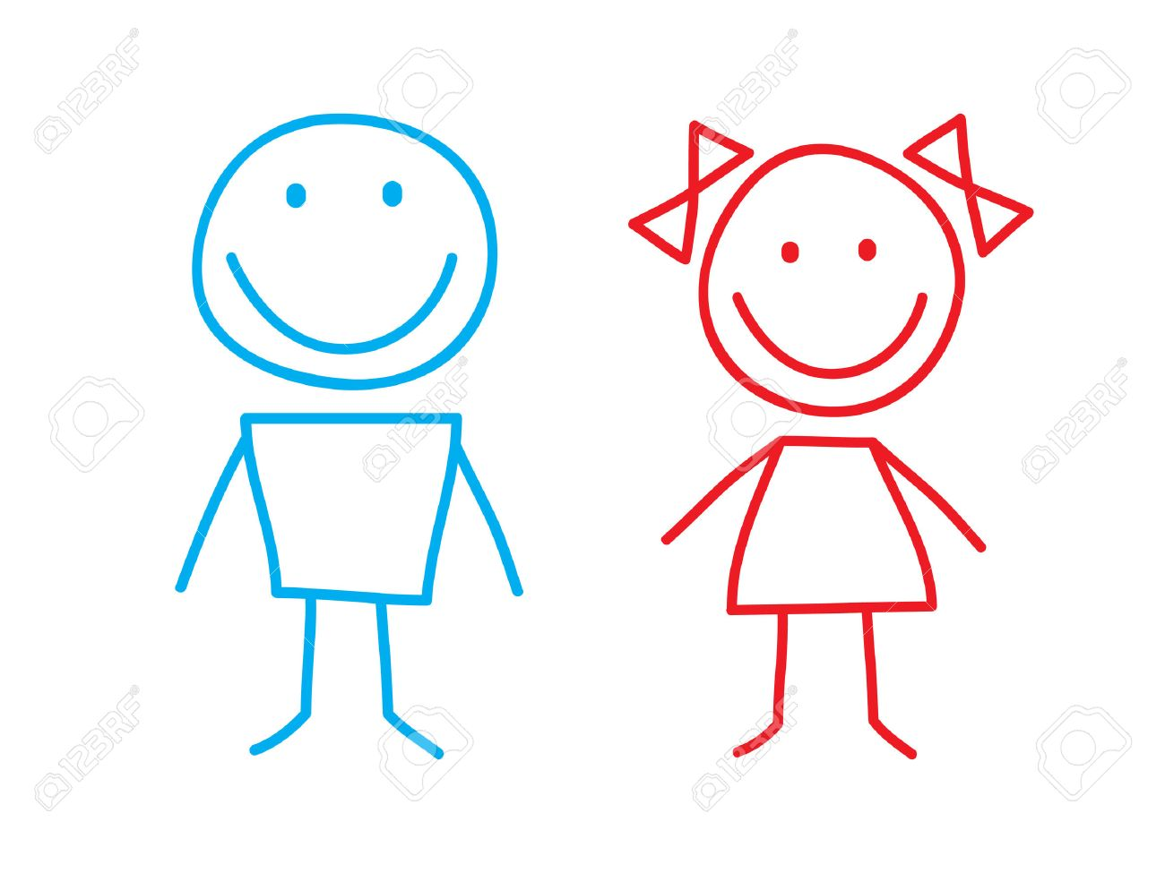 Simple Illustation of Girl and Boy Stock Vector - 7640023