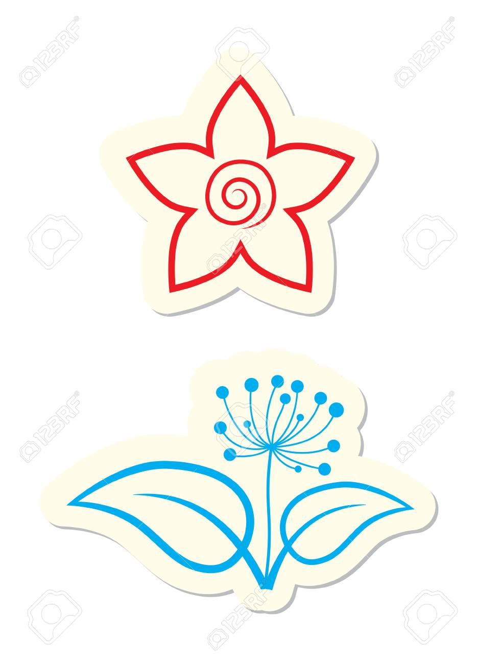 Floral Icons Isolated on White Stock Vector - 7679858