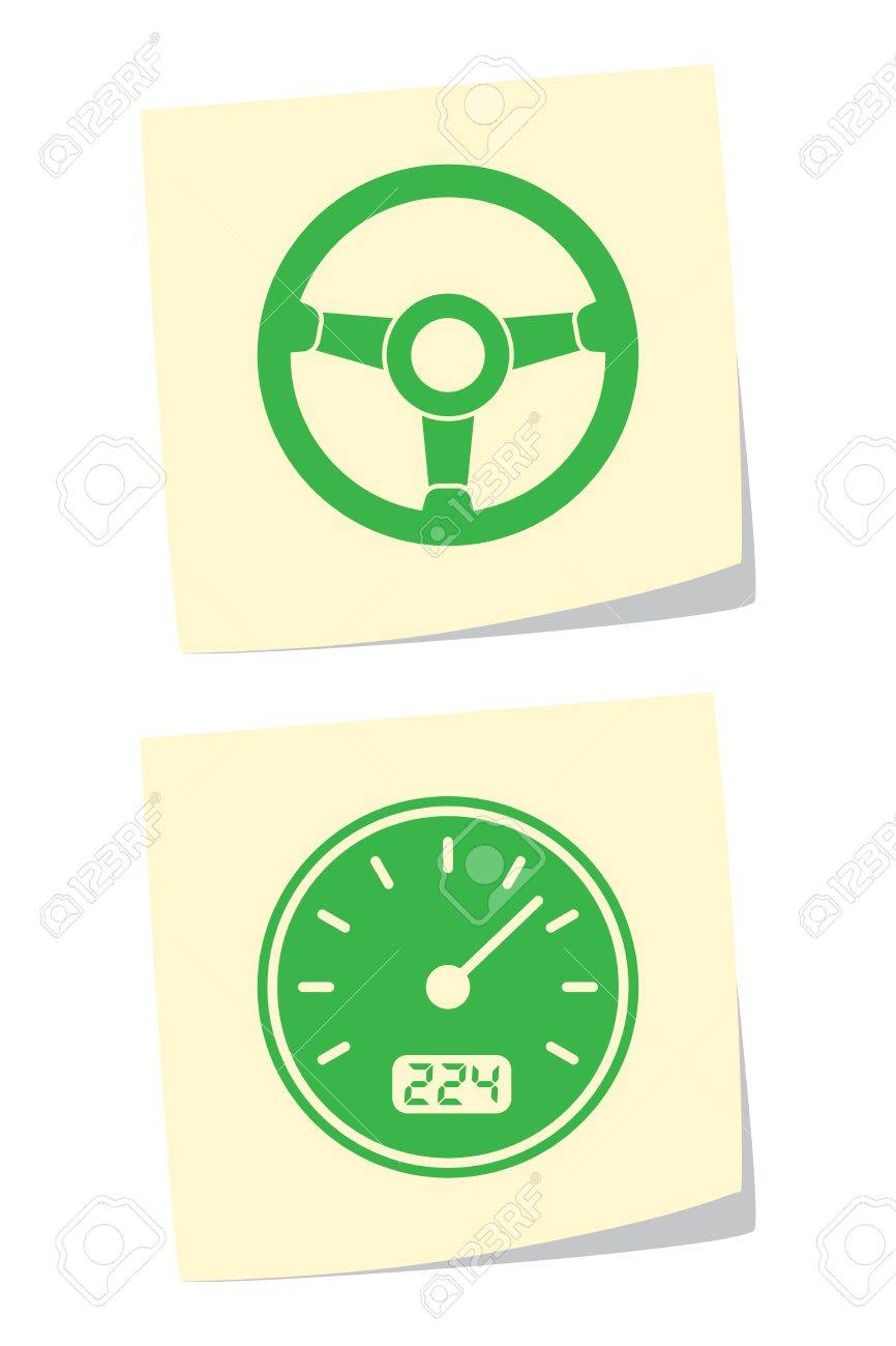 Vector Wheel and Speedometer Icons Stock Vector - 9370422