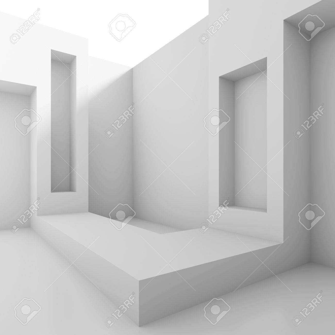 3d White Abstract Architecture Background Stock Photo - 18719061