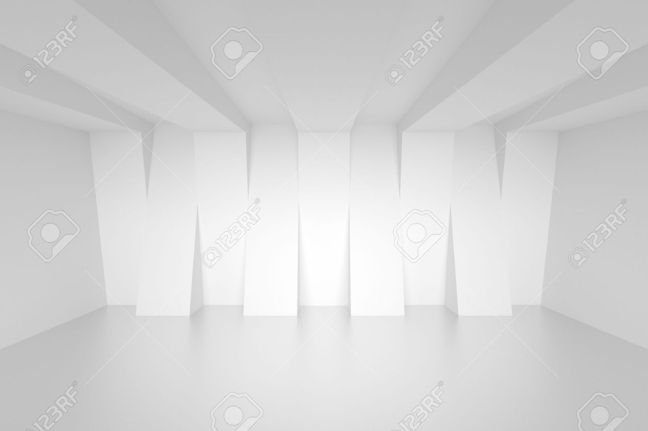 Empty White Room  Abstract Interior Background