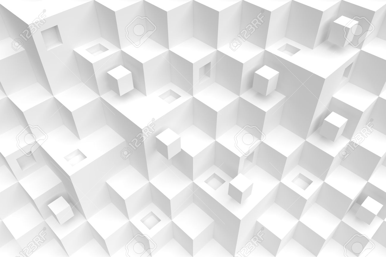 White Cube Background Modern Architecture Design Stock Photo