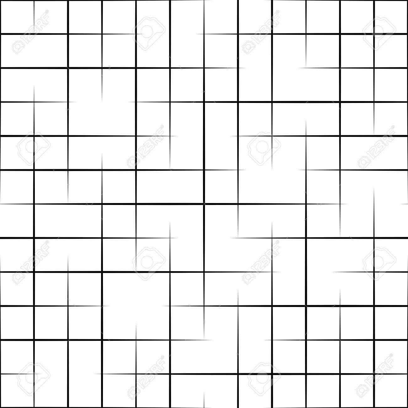 Seamless Grid Pattern. Vector Black and White Background. Regular Texture - 57875258