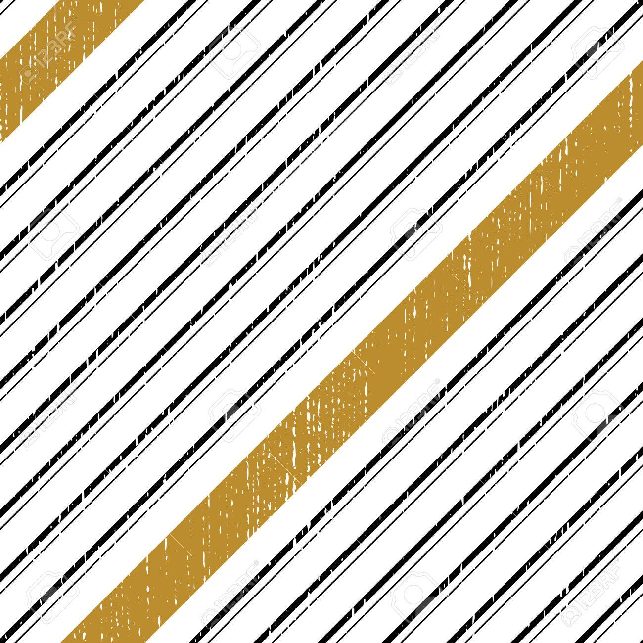 Seamless Diagonal Stripe Pattern Vector Black And Gold Background