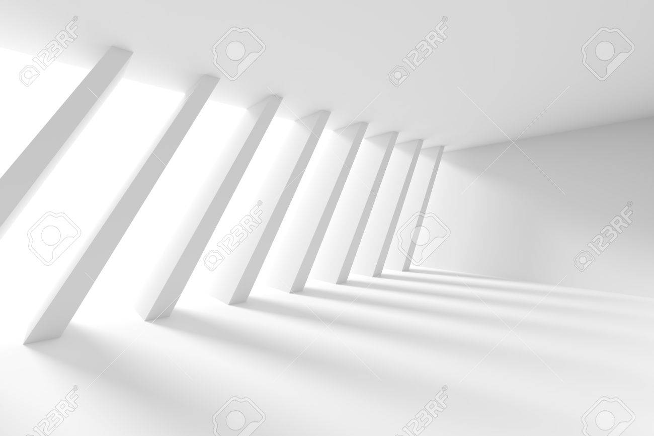 3d Illustration od White Interior Design. Empty Room with Window and Columns. Abstract Architecture Background - 69869909