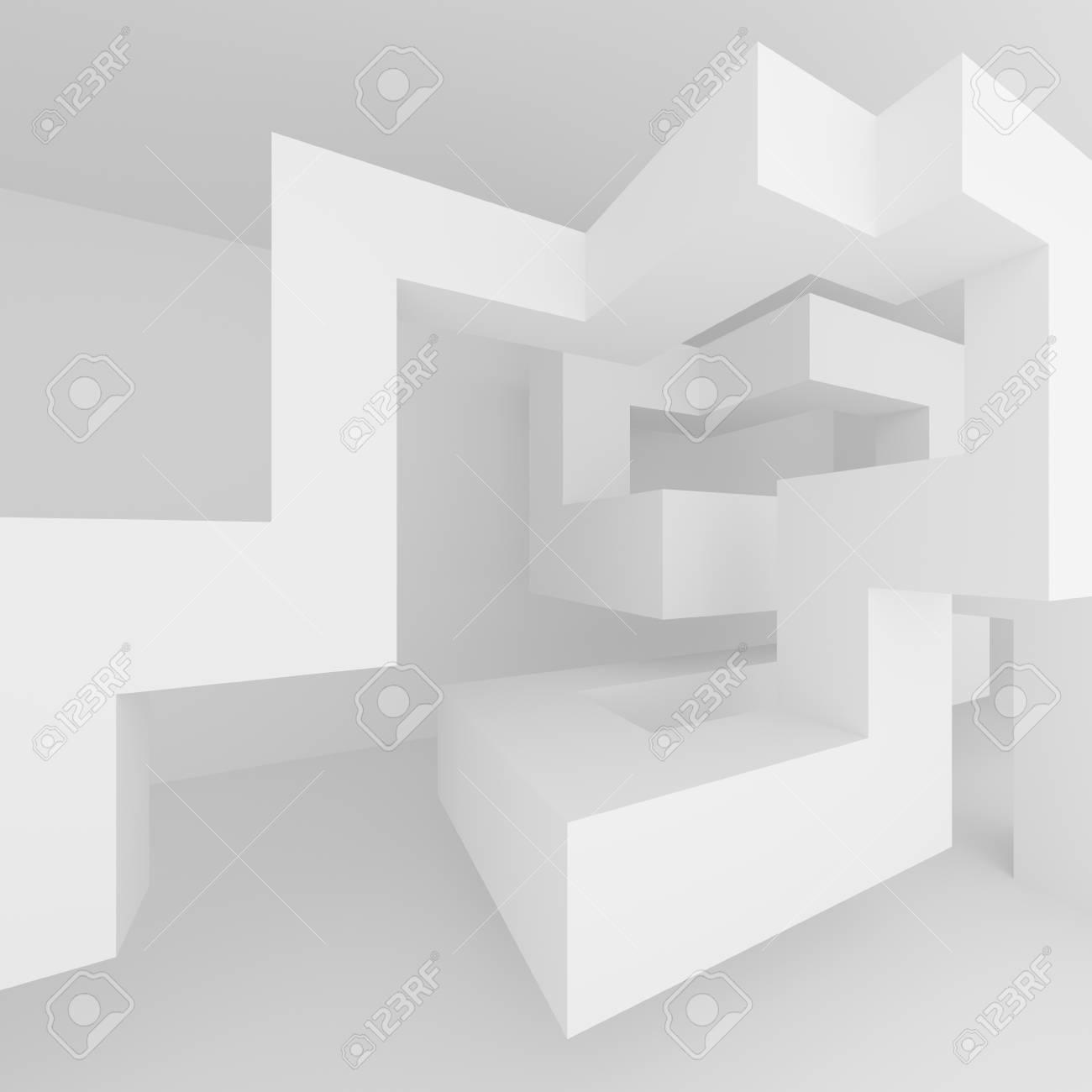 Abstrakter Architektur-Hintergrund. Weiße Innenarchitektur ...