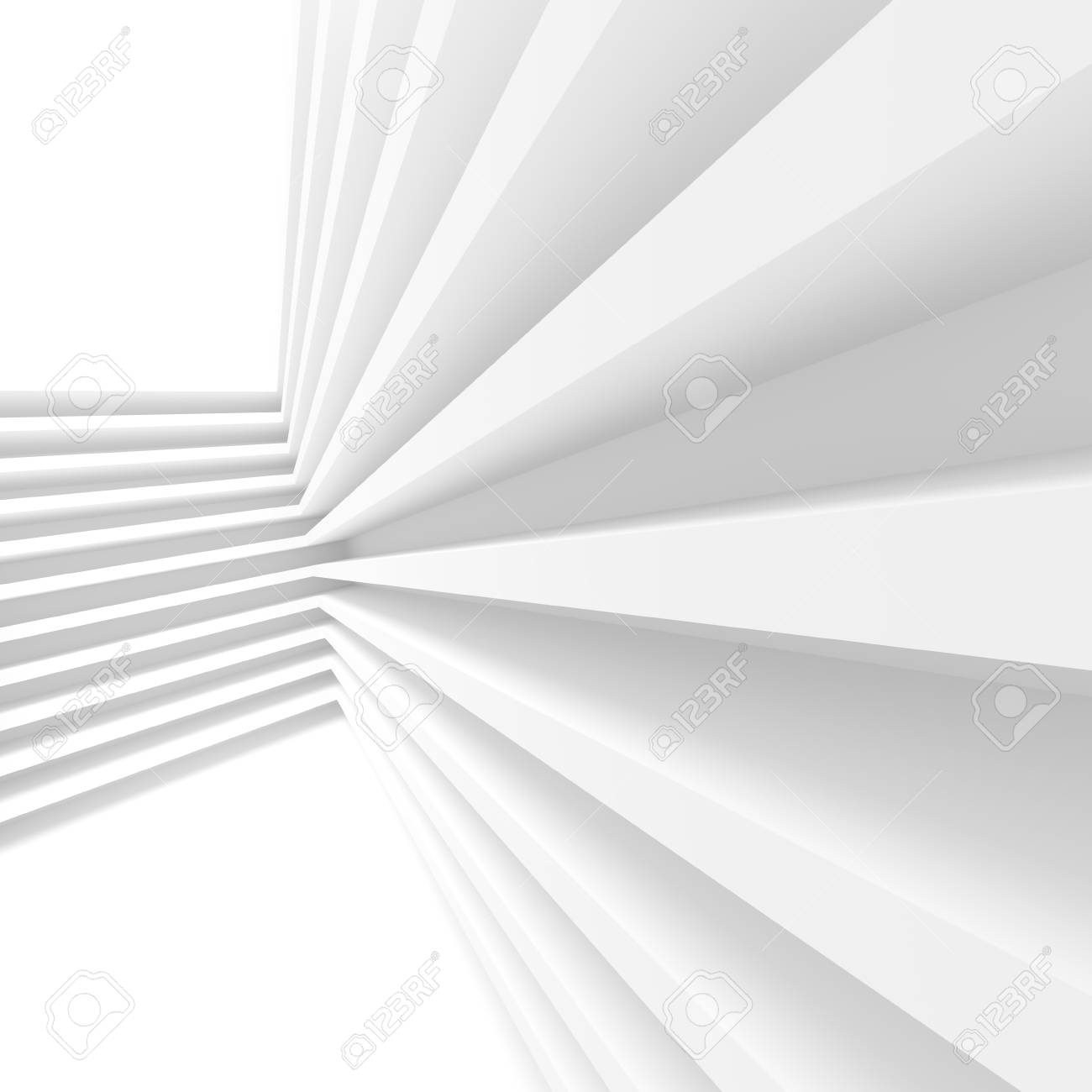 3d Illustration Of White Abstract Architecture Background Building Blocks Creative Web Wallpaper Stock