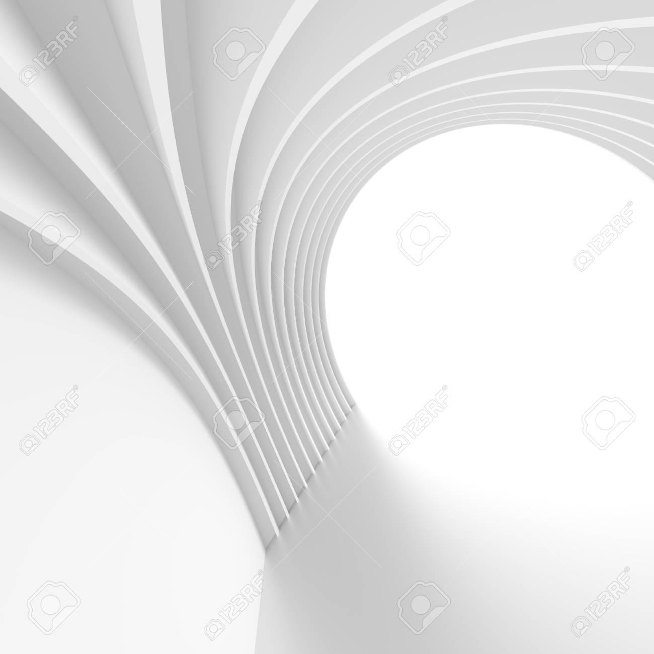 Moderne Architektur Hintergrund Weisses Kreisformiges Gebaude Minimal Geometric Wallpaper Futuristischer Tunnelentwurf 3D