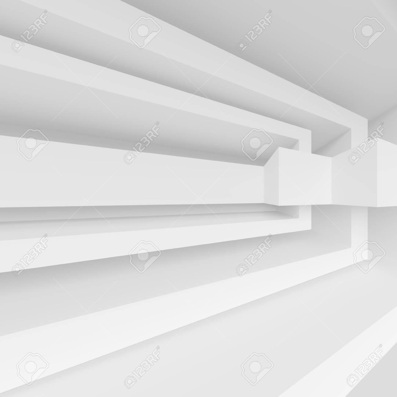 Weißes Abstraktes Wohnzimmer Konzept. Minimalistisches Grafikdesign.  Wiedergabe 3d Standard