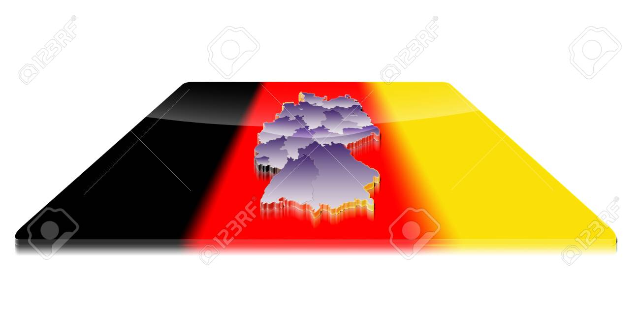 Map Of Germany 3d.A Simple 3d Map Of Germany On A 3d Flag Stock Photo Picture And